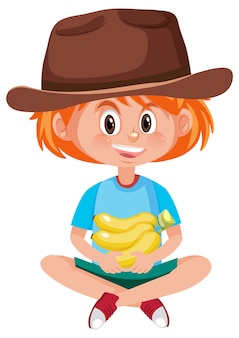 Children cartoon character holding fruit or vegetable isolated