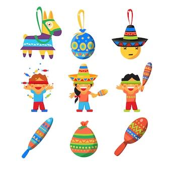 子供たちは伝統的なロバのピニャータの遊びを破ってポサダを祝います
