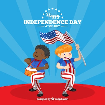 Children celebrating american independence day