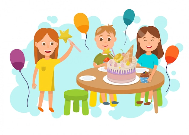 Children celebrating birthday party flat cartoon