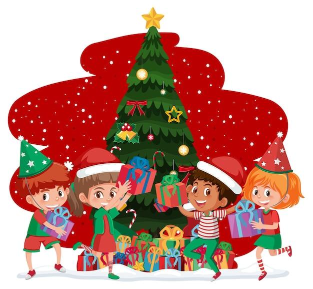 Дети празднуют рождество изолированные