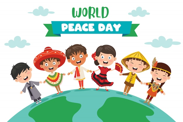 Children celebrating world peace day Premium Vector