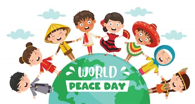 Children celebrating world peace day