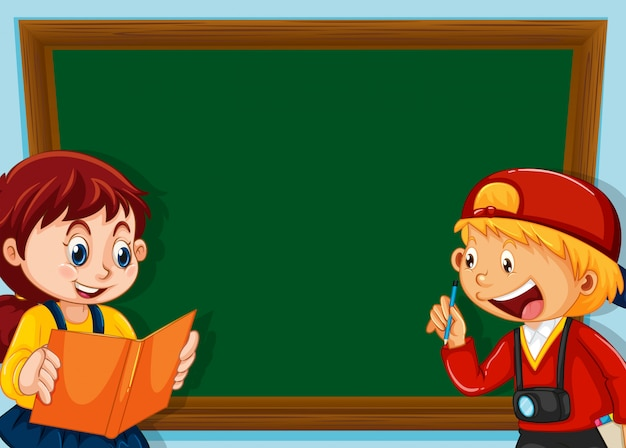 Children on chalkboard background with copyspace