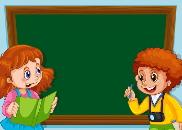 Children on chalkboard with copyspace