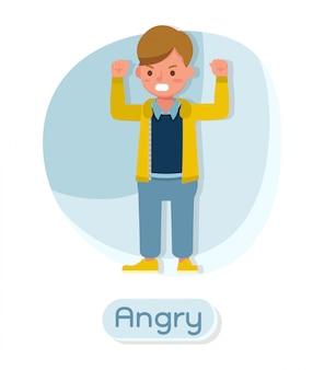 子供のキャラクター。怒り。