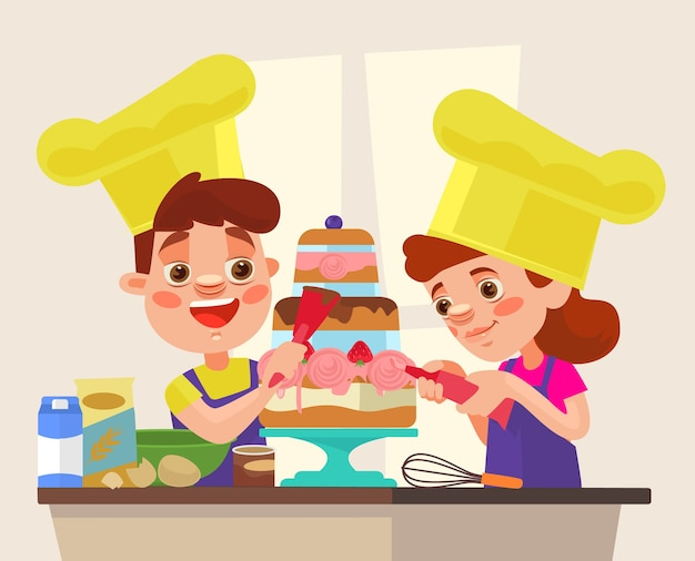 Children character bake cake.