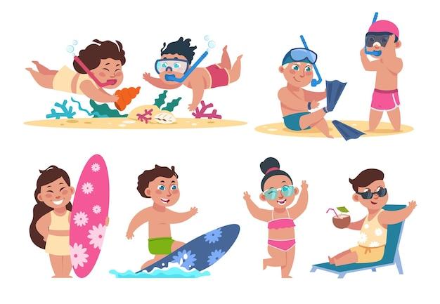 Детский персонаж на летних каникулах, выполняющих пляжные мероприятия