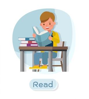 子供のキャラクター。さまざまなアクションでのプレゼンテーションと感情を込めて読む。