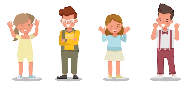 子供のキャラクター。幸せな気持ちで様々なアクションでのプレゼンテーション。