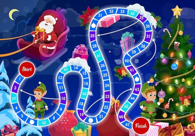 Детская новогодняя настольная игра с дедом морозом и эльфами