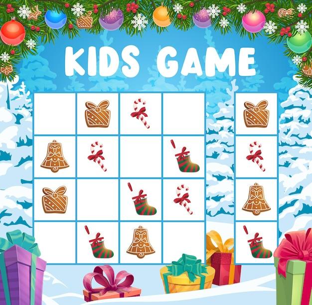 어린이 크리스마스 크로스 워드 퍼즐, 논리 게임. 어린이 휴가 재생 활동, 어린이 게임 책 페이지 템플릿. 크리스마스 트리, 진저 쿠키와 스타킹, 사탕 지팡이, 크리스마스 선물 만화 벡터 프리미엄 벡터