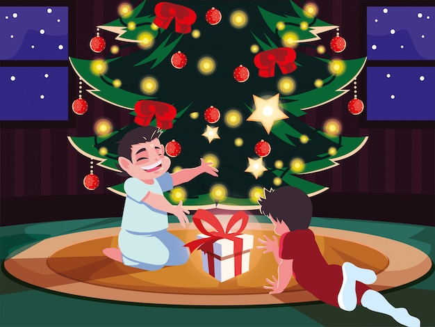 Children in christmas evening scene with box gift