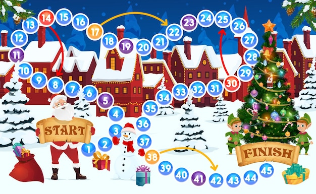 Children christmas holiday boardgame template. kids activity, puzzle with dice throwing and moving on map task, child board game. santa, elfs decorating christmas tree and snowman cartoon vector