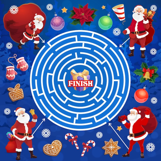 Children christmas holiday labyrinth maze with santa character. child logical game, kids educational riddle or playing activities book page template. santa with sack, mittens and sweets cartoon vector