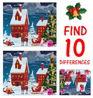 Children christmas maze or game page. find ten differences playing activity for kids, preschooler child logic riddle. santa claus riding sleigh with reindeer, christmas tree on city street vector