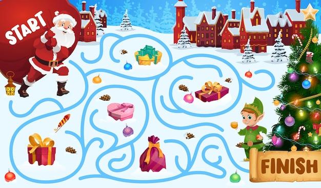 어린이 크리스마스 미로, 산타와 엘프와 미로 게임. 어린이 겨울 방학 수수께끼, 검색 경로 게임 또는 활동. 산타 선물, 장식 된 크리스마스 트리 만화 벡터와 자루를 들고