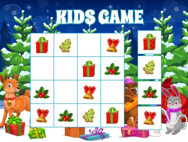 동물 아기와 함께 어린이 크리스마스 퍼즐 게임