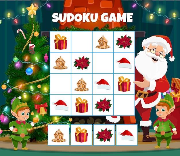어린이 크리스마스 스도쿠 퍼즐 게임 벡터