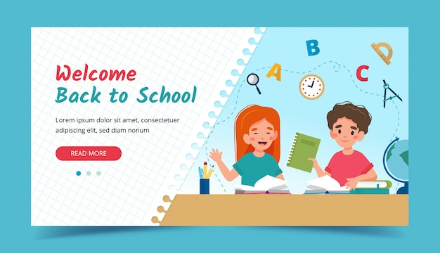 Children in class, back to school concept. banner or landing page template.