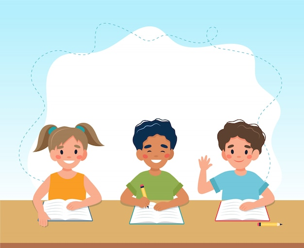 Children in class reading and writing, back to school concept, cute characters.