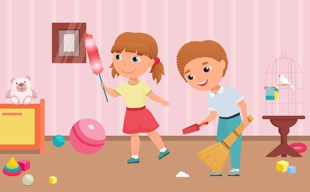 子供たちはほうきとスクープの女の子の掃除を保持しているプレイルームの家事の男の子の子供をきれいにします
