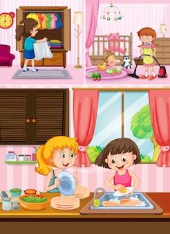 家を掃除する子供たち