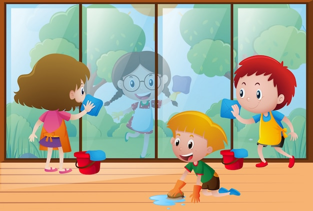 Children cleaning window at home