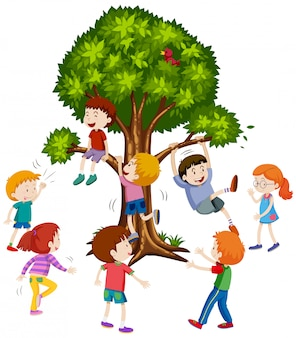 Children climbing treee white background