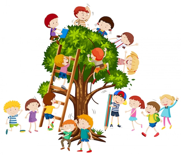 Children climbing up the tree