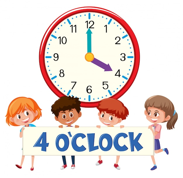 Children and clock 4 o'clock