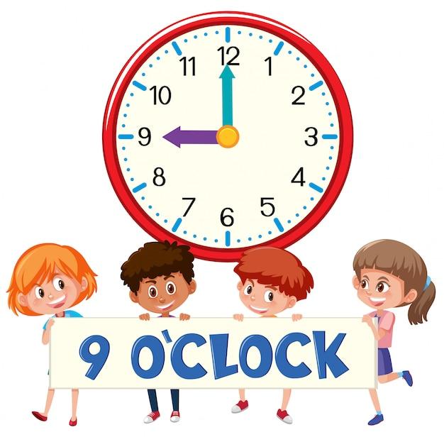Children and clock 9 o'clock