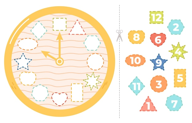 어린이 시계 퍼즐 게임. 아이들을 위한 교육 시간 퍼즐 게임, 시계 학습 종이 벡터 삽화. 시계 유치원 교육. 퍼즐 시계 교육, 워크 시트 어린이 유치원
