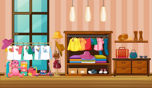 Children clothes hanging in wardrobe with many accessories in the room scene