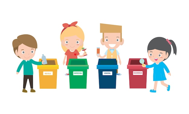 Children collect rubbish for recycling isolated on white backgrounds  illustration.