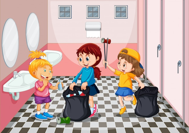Children collecting trash in toilet