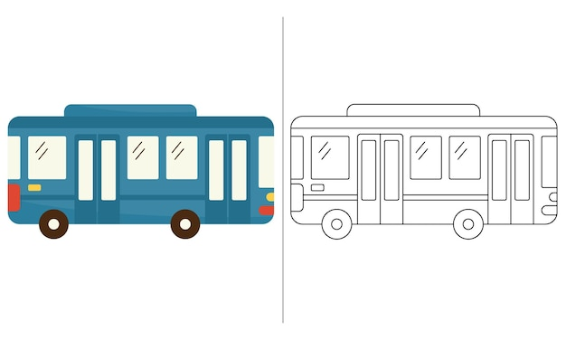 Children coloring book illustration blue city bus