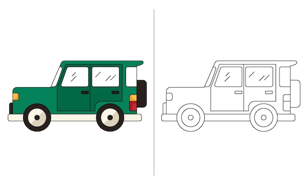 Children coloring book illustration green jeep