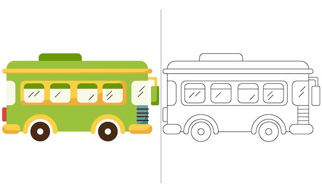 Children coloring book illustration green school bus