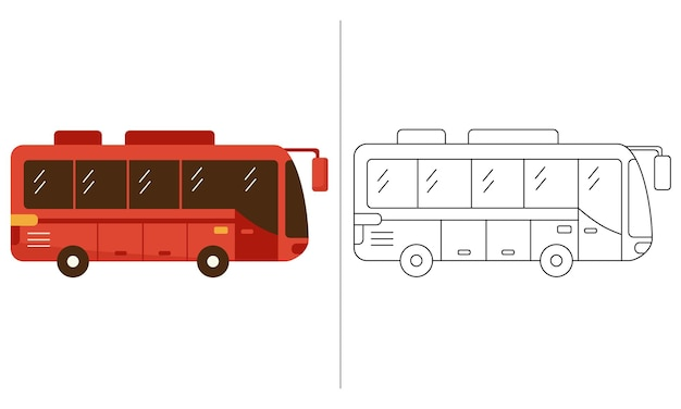 Детская раскраска иллюстрация красный автобус транспорт общественный