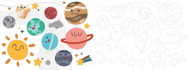 어린이 색칠하기 책 그림 태양과 태양계
