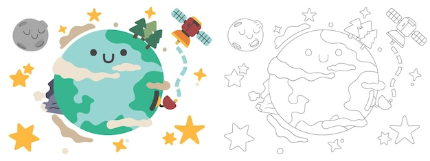 Children coloring book illustration sun and solar system