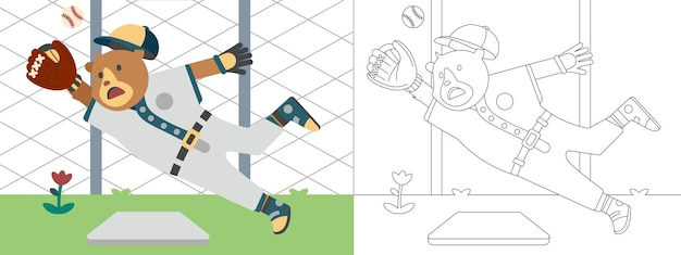 Children coloring page illustration with bear play baseball