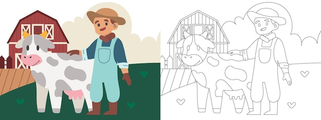 Children coloring page illustration with farmer and cow