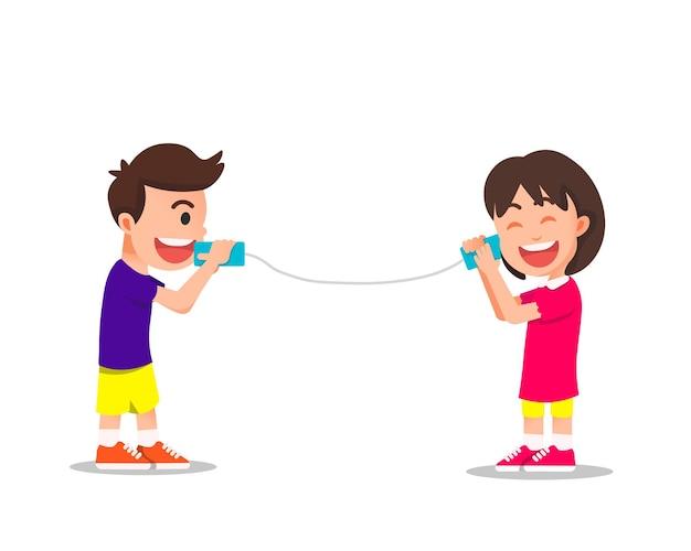 Children communicate by hand made telephone