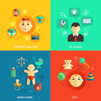 Children concept flat icons