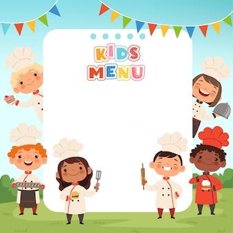 子供の背景を調理します。小さな子供シェフが10代の男の子と女の子の料理を作る