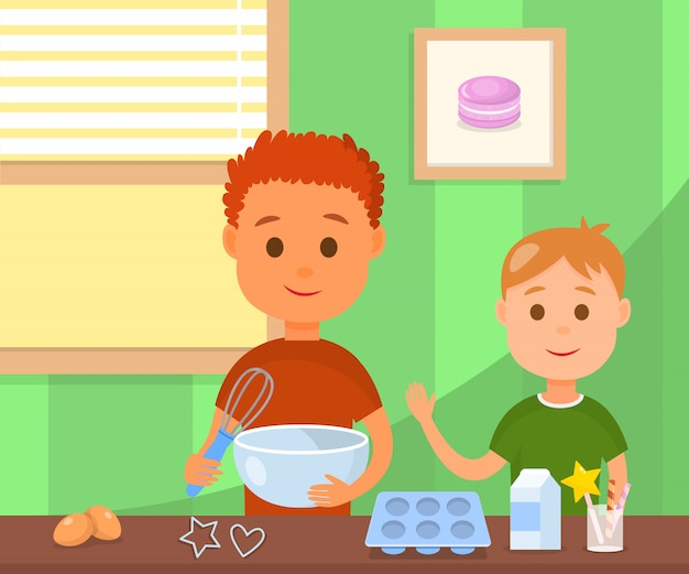 Children cooking tasty cookies vector illustration