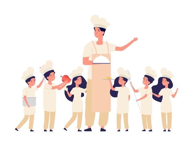 아이들은 요리를합니다. 교사 요리사, 아이들을위한 요리 수업. 행복 한 소년, 소녀 작은 수석 밥솥, 제복을 입은 귀여운 아이. 주방 팀 벡터 문자. 교사 요리사, 요리사 및 소녀 소년 만화 그림