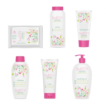 Children cosmetic. white packages, beautiful floral ornament.